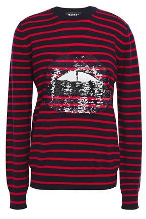 MARKUS LUPFER Mia sequin-embellished striped merino wool sweater