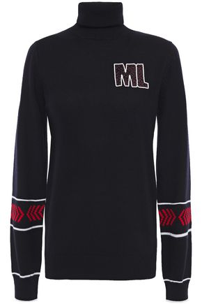 MARKUS LUPFER Emma appliquéd intarsia merino wool turtleneck sweater