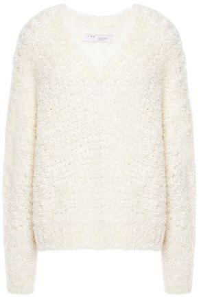 IRO Titan pointelle-trimmed brushed knitted sweater