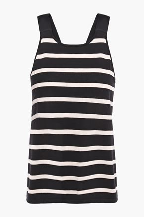 COTTON by AUTUMN CASHMERE Grosgrain-trimmed striped cotton-jersey tank