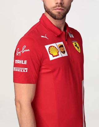 Scuderia Ferrari Online Store - Scuderia Ferrari 2020 Replica men's team polo shirt - Short Sleeve Polos