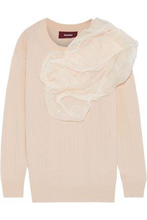 SIES MARJAN Awa silk organza-appliquéd wool-blend sweater