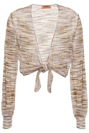 MISSONI Cropped tie-front open-knit cardigan