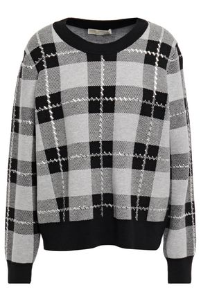 MICHAEL MICHAEL KORS Studded checked jacquard-knit sweater