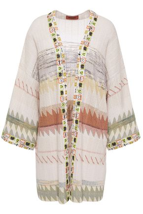 MISSONI Embroidered bouclé-knit cotton-blend cardigan