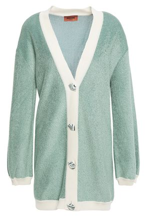 MISSONI Two-tone crochet-knit cotton-blend cardigan
