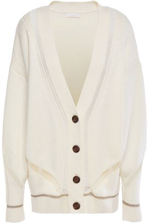 SEE BY CHLOÉ Open knit-trimmed wool cardigan