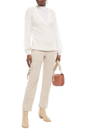 See By Chloé Women's Romantic Knit Silk-blend Puff-sleeve Pullover In Ivory