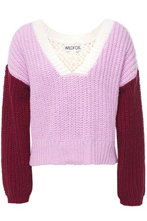 WILDFOX Color-block ribbed and open-knit cotton sweater