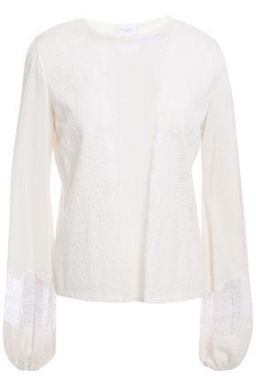 GIAMBATTISTA VALLI Lace-trimmed cashmere and silk-blend sweater