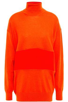 CHLOÉ Silk crepe de chine-paneled wool turtleneck sweater