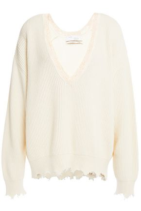 IRO Shoree distressed ribbed cotton and cashmere-blend sweater