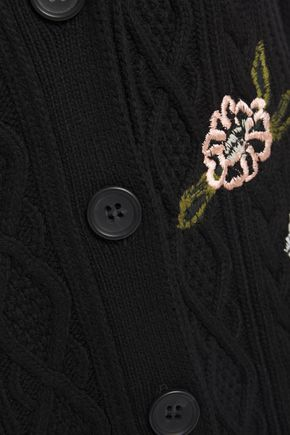 REDValentino Embroidered cable-knit cardigan