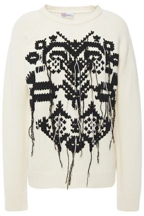 REDValentino Frayed embroidered wool sweater