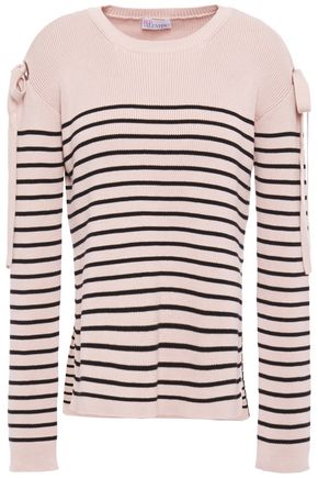 REDValentino Bow-embellished striped ribbed cotton sweater
