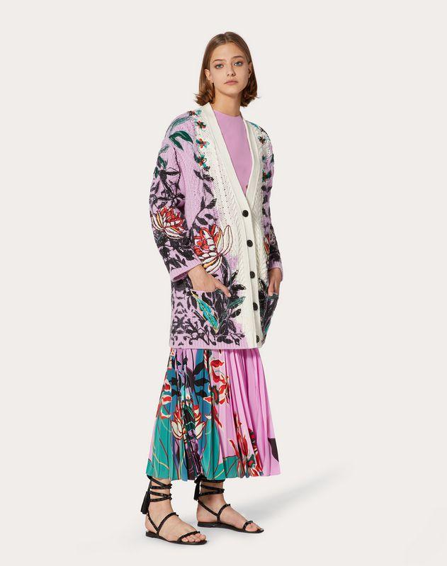 Intarsia Cashmere Wool Cardigan