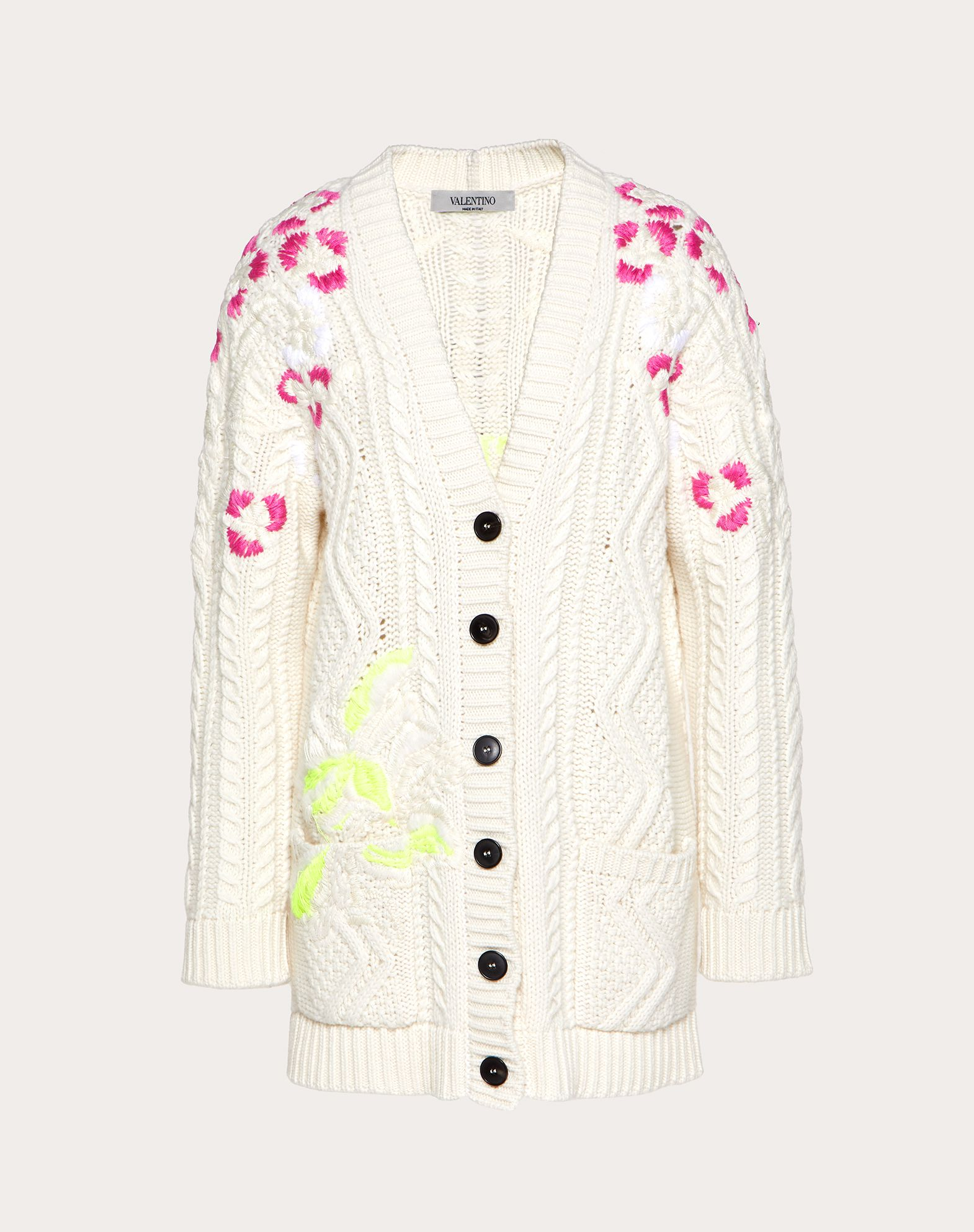 Embroidered Cashmere Wool Cardigan