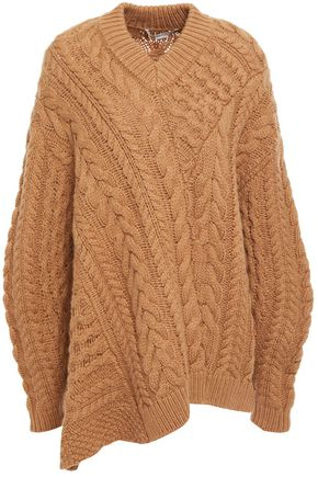 STELLA McCARTNEY Asymmetric cable-knit wool and alpaca-blend sweater