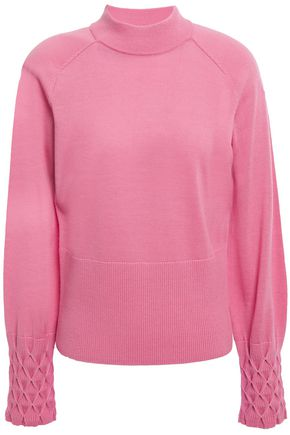 ELIE TAHARI Skylar smocked merino wool sweater