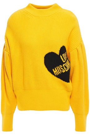 LOVE MOSCHINO Ribbed intarsia-knit sweater