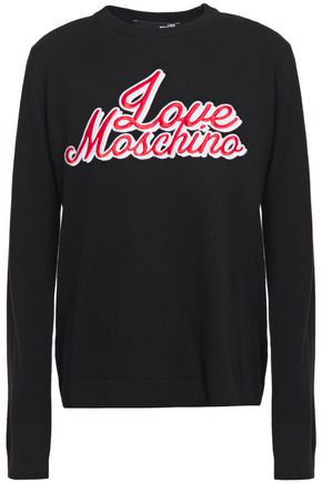 LOVE MOSCHINO Crystal-embellished embroidered kknitted sweater