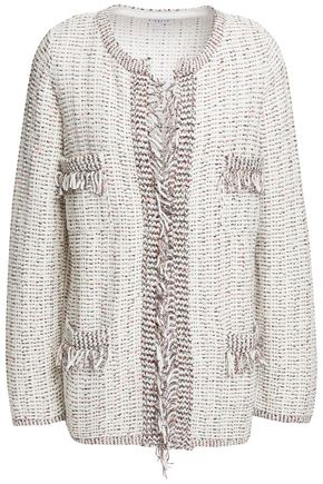 CLAUDIE PIERLOT Frayed embroidered cotton-blend cardigan