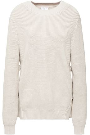 CLAUDIE PIERLOT Button-embellished ribbed cotton-blend sweater