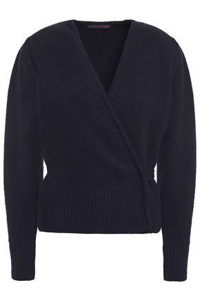 ALEXACHUNG Bouclé-knit cotton-blend wrap cardigan