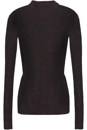 7 FOR ALL MANKIND Metallic ribbed-knit top
