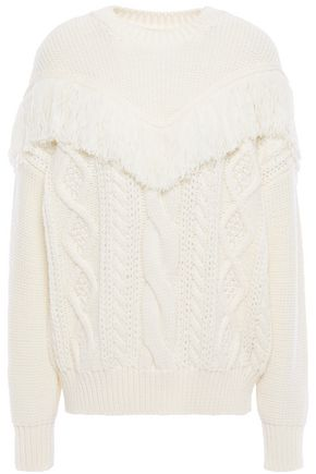 7 FOR ALL MANKIND Fringed cable-knit wool sweater