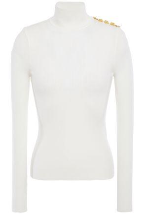 ALEXANDRE VAUTHIER Button-embellished merino wool-blend turtleneck sweater