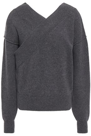 EACH X OTHER Wrap-effect mélange merino wool and cashmere-blend sweater