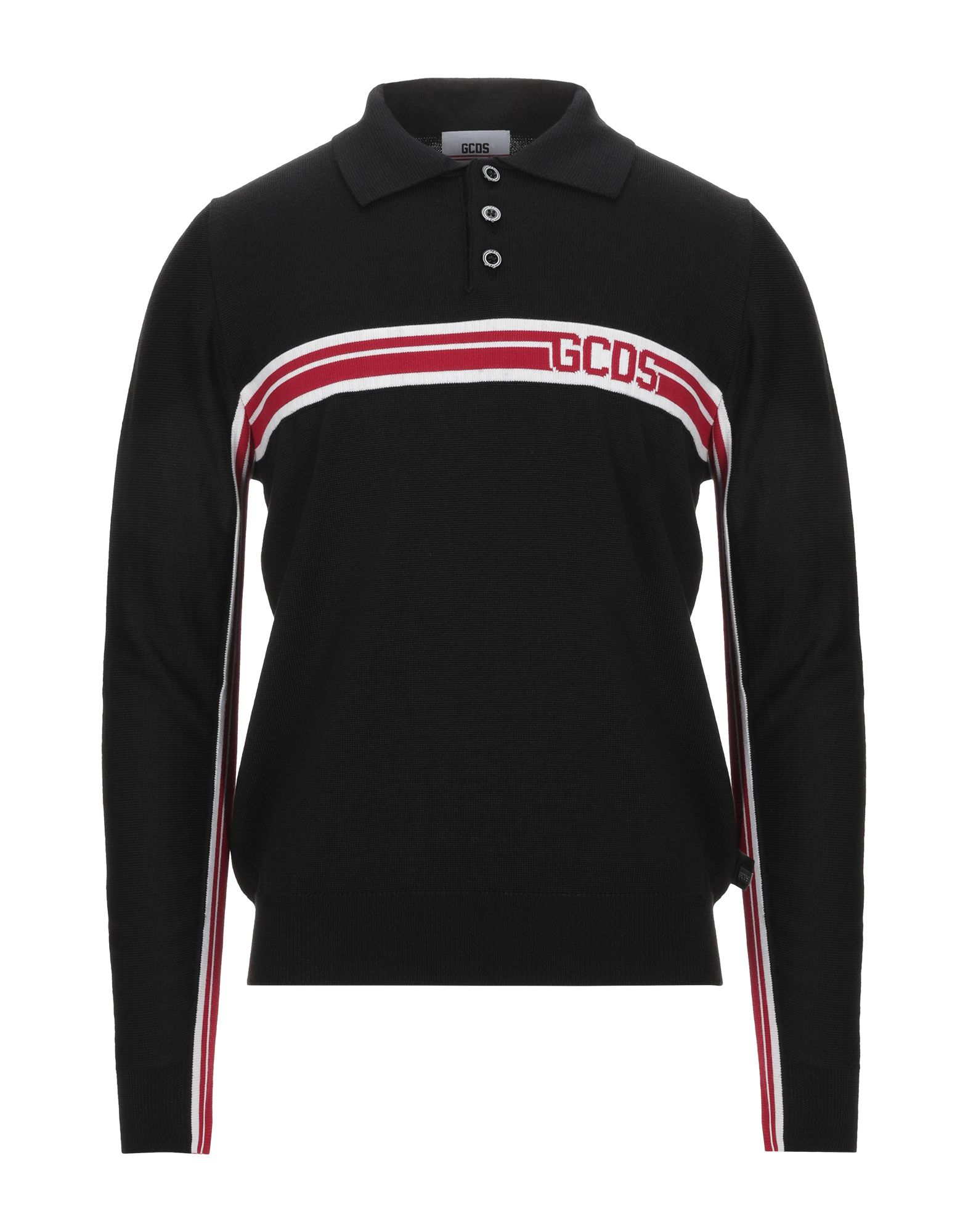 GCDS Sweaters. knitted, logo, solid color, polo collar, medium-weight sweater, long sleeves, front closure, button closing, no pockets. 40% Wool, 40% Dralon®, 14% Viscose, 6% Polyester
