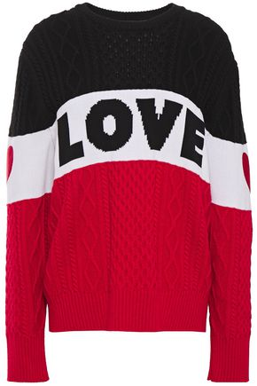 LOVE MOSCHINO Embroidered intarsia and cable-knit sweater