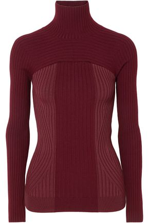 MUGLER Ribbed two-tone wool-blend turtleneck sweater