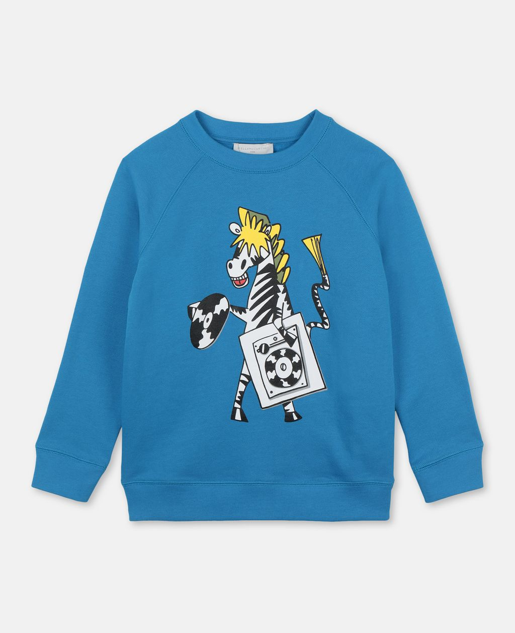 Stella Mccartney STELLA MCCARTNEY KIDS BLUE ZEBRA DJ COTTON SWEATSHIRT