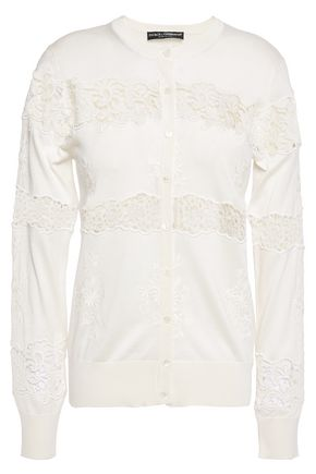 DOLCE & GABBANA Guipure lace-paneled embroidered silk-blend cardigan