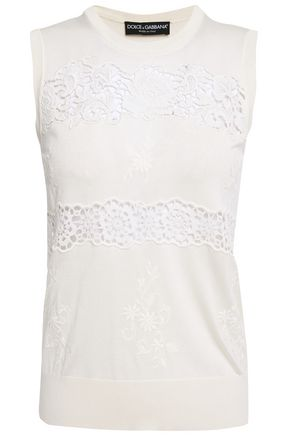 DOLCE & GABBANA Guipure lace-paneled embroidered silk-blend top