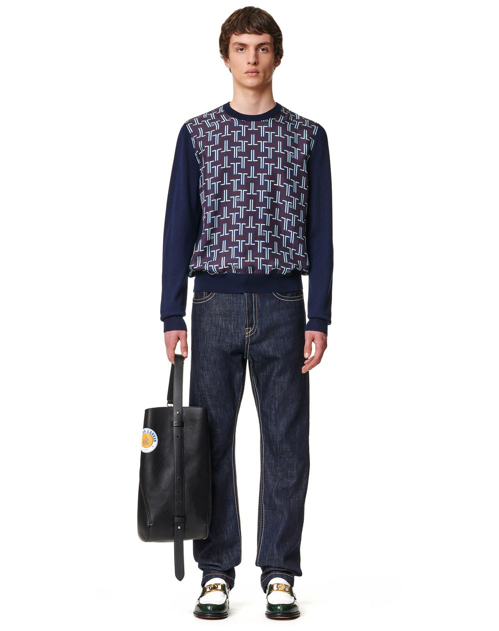 KNITTED SWEATER WITH FRONT PRINTED SILK PANELS - Lanvin