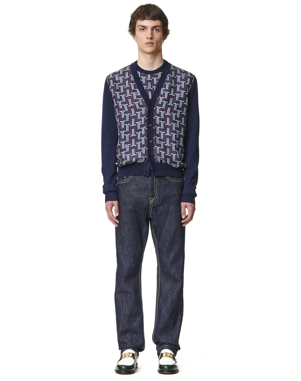 KNITTED CARDIGAN WITH FRONT PRINTED SILK PANELS - Lanvin