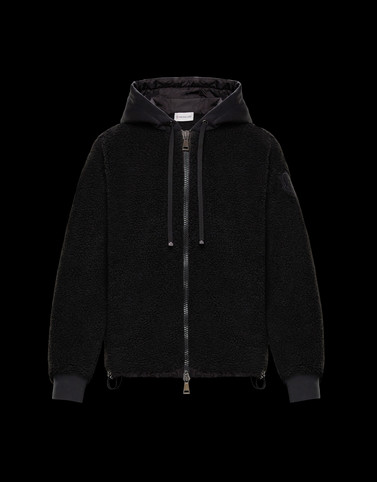 HOODED CARDIGAN Black Sweatshirts Woman