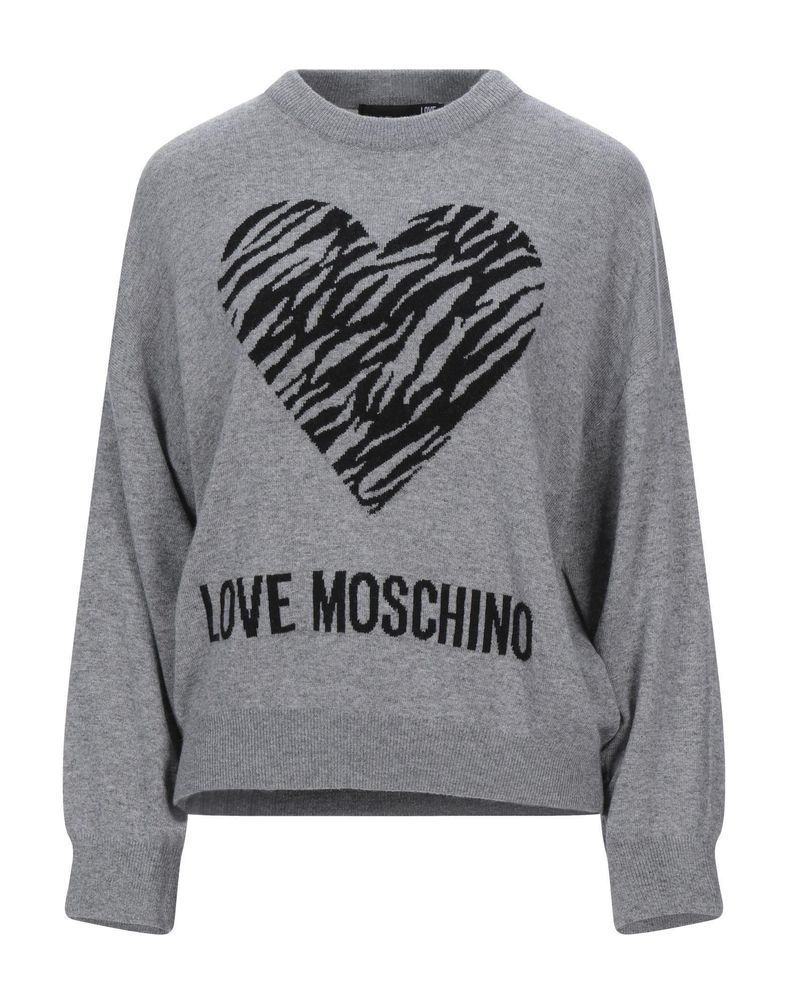 《セール開催中》LOVE MOSCHINO レディース プルオーバー グレー 44 ナイロン 40% / レーヨン 30% / ウール 25% / カシミヤ 5%