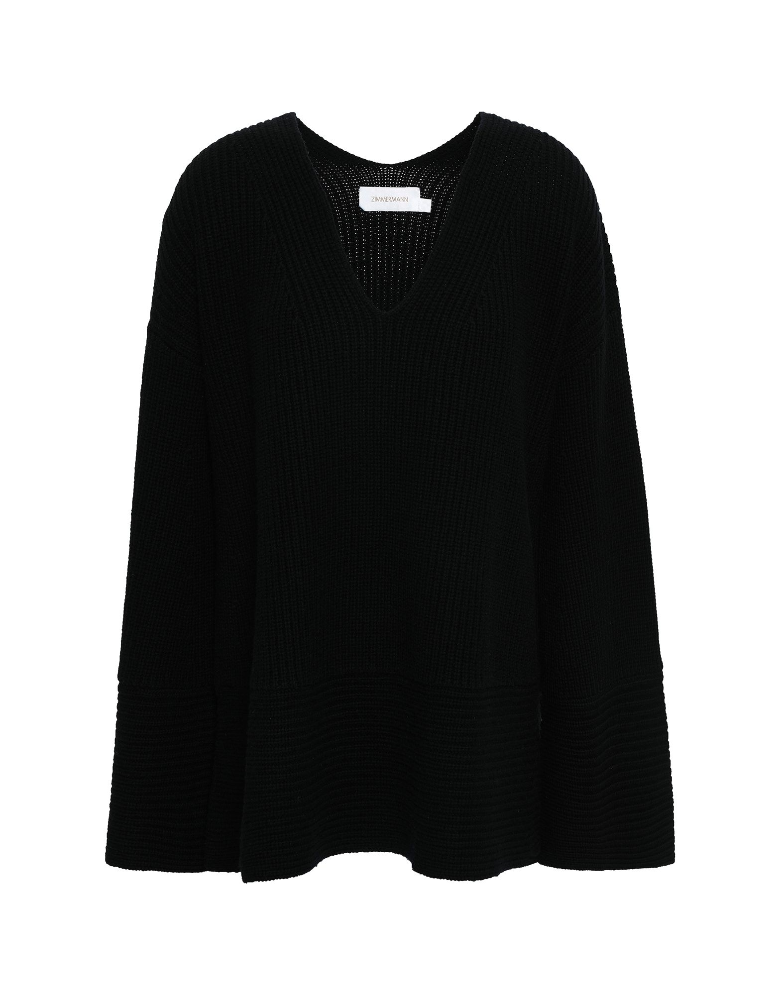ZIMMERMANN Sweaters. knitted, ribbed, no appliqués, medium-weight knit, v-neck, basic solid color, long sleeves, no pockets. 90% Wool, 10% Cashmere