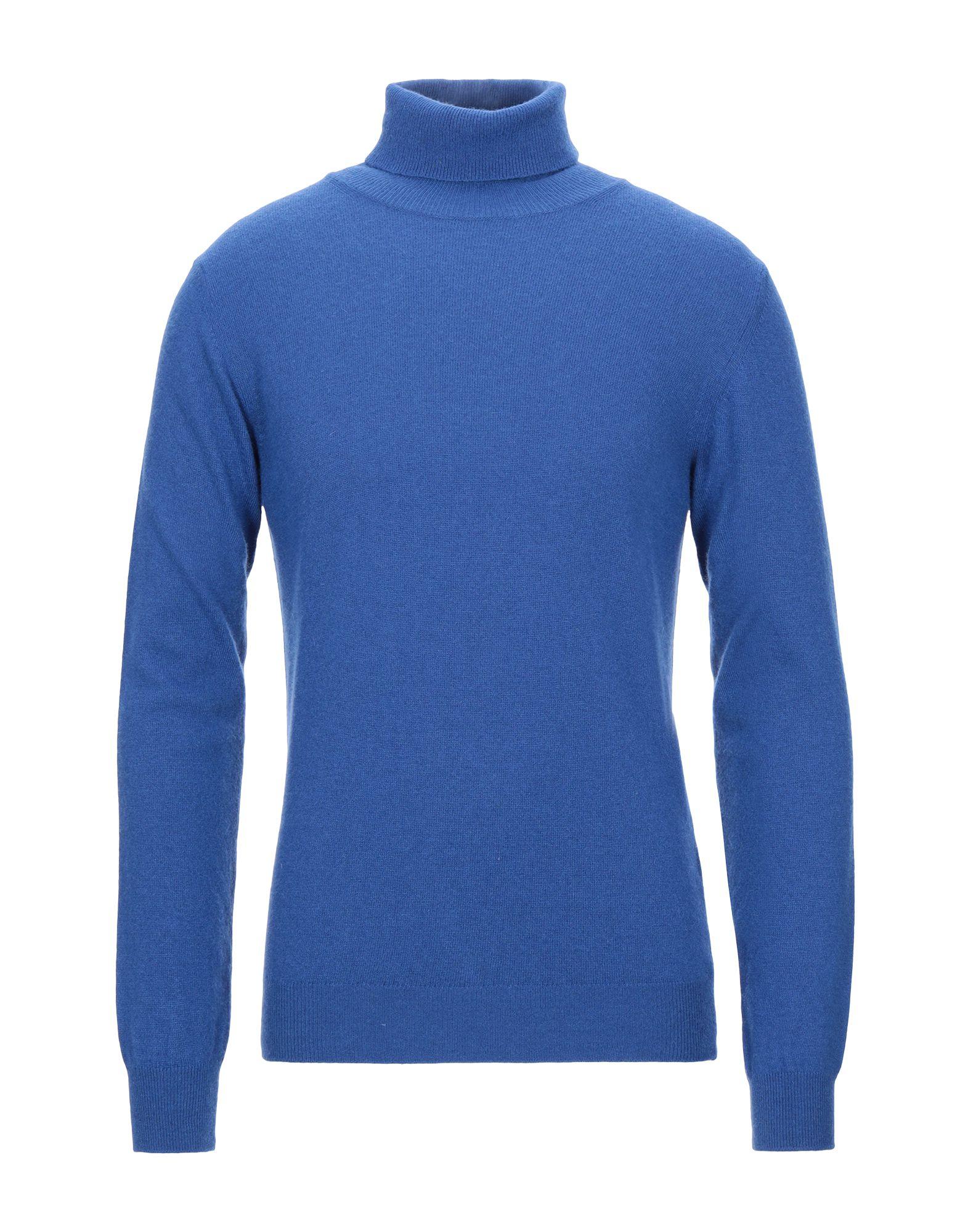 《セール開催中》DANIELE ALESSANDRINI HOMME メンズ タートルネック ブルー 46 ナイロン 35% / レーヨン 30% / ウール 30% / カシミヤ 5%