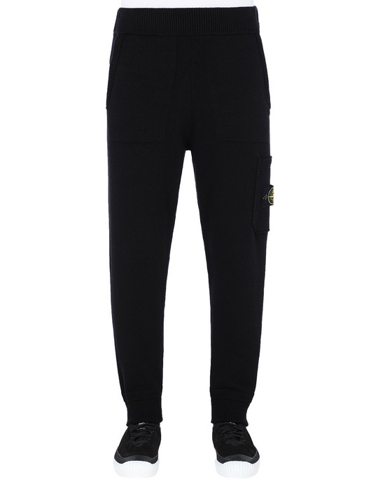 STONE ISLAND 558A7 KNIT TROUSERS Man Black