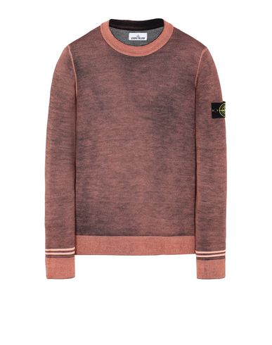 STONE ISLAND 555A8 FAST DYE + AIRBRUSH Sweater Man Orange EUR 289