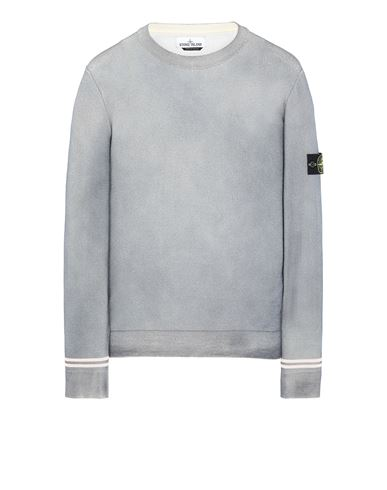 STONE ISLAND 555A8 FAST DYE + AIRBRUSH Sweater Man Dust Gray USD 188