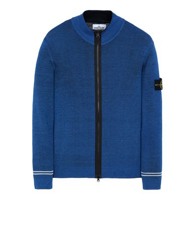 STONE ISLAND 556A8 FAST DYE + AIRBRUSH Sweater Man Periwinkle EUR 359