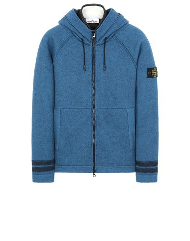 STONE ISLAND 565A6 FELTED PURE WOOL_DETACHABLE LINING  Sweater Man Periwinkle EUR 921