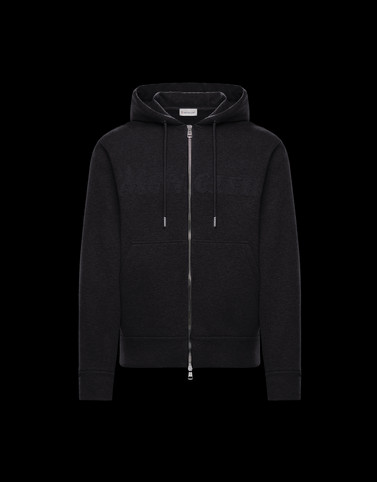 HOODED CARDIGAN Black Knitwear & Sweatshirts Man